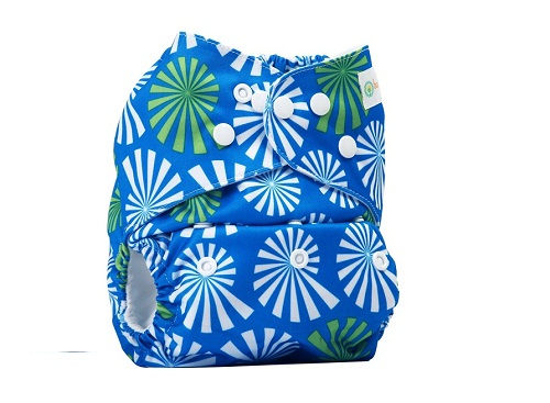 Bumberry Pocket Style Cloth Diaper Blue Flowers On White Print